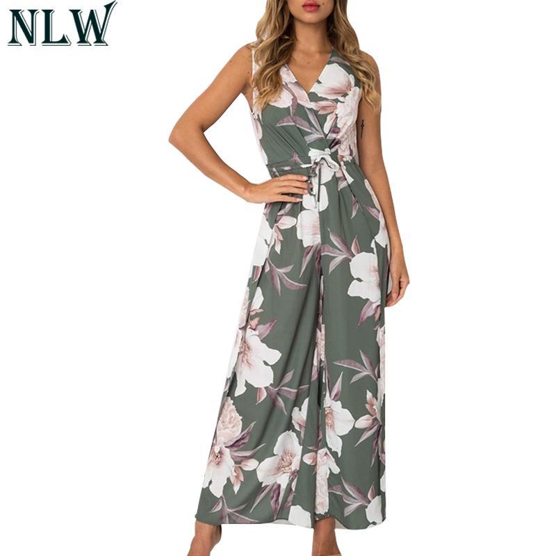 3759183354 Wholesale V Neck Flower Chiffon Jumpsuit High Split Summer Bodysuit ...