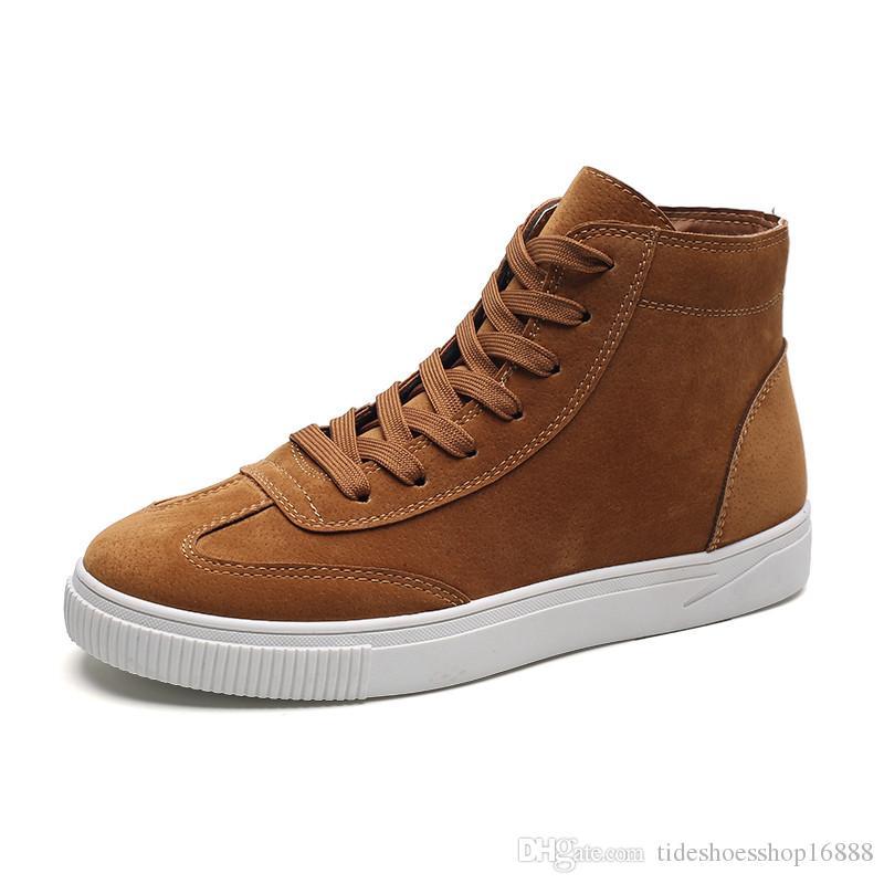 0d145119d02b2 Acheter New Hommes En Cuir Cheville Bottes Hommes Haut Top Skate Chaussures  De Mode Respirant Casual Marche Chaussures Britannique Hip Hop Chaussures  Bota ...