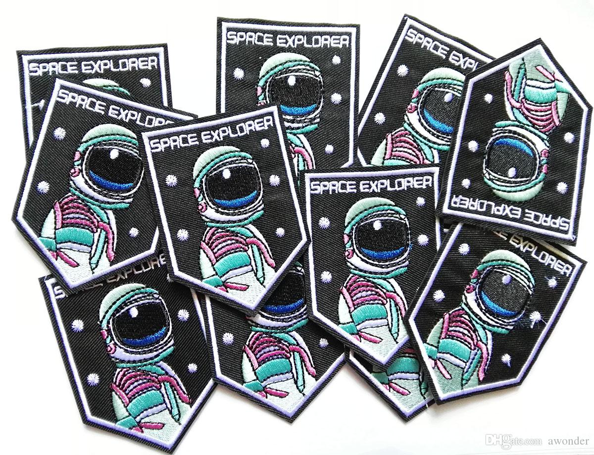 Acquista ricamato space explorer patch stiratura cucire applique