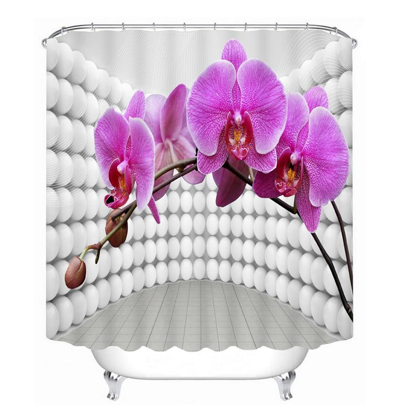 New 3D Shower Curtains Purple Flowers Pattern Waterproof Fabrics Wedding Bathroom Curtains Washable Bathroom Products Hooks