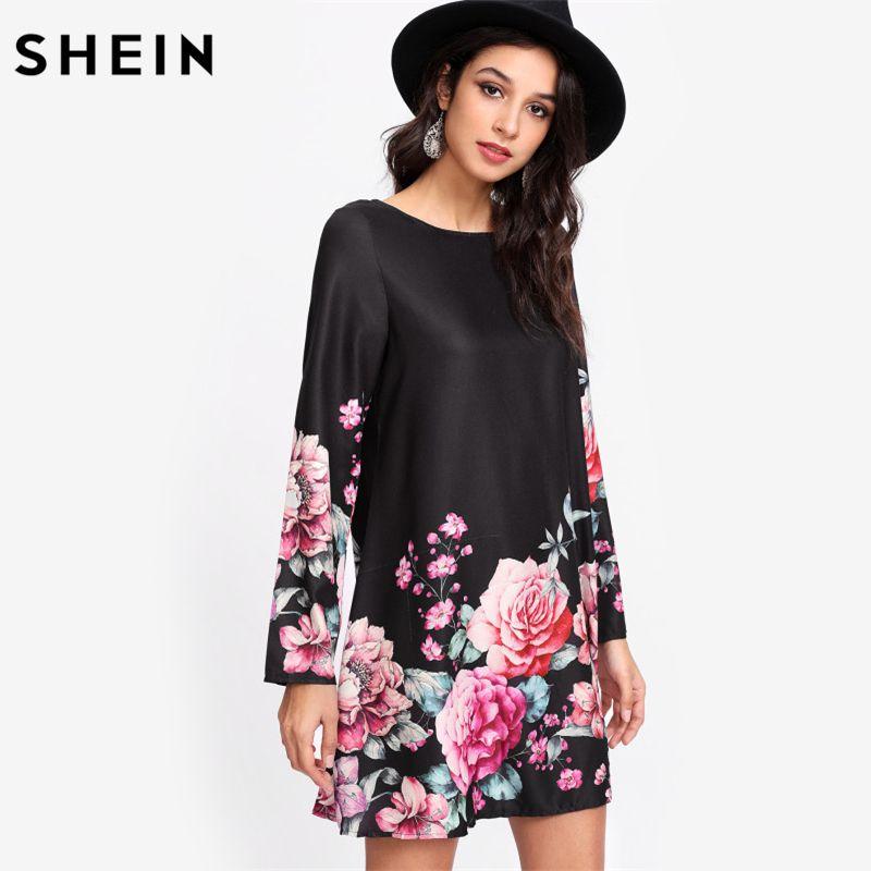 4e7fdeccddd4d SHEIN Flower Print Tunic Dress Multicolor Boat Neck Long Sleeve ...