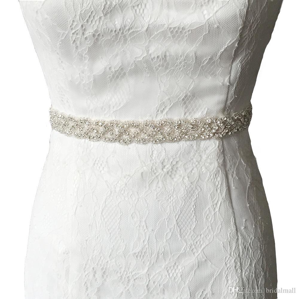 Auf Lager Strass Hochzeit Schärpe 2,5 cm Breite 45 cm Länge Kristall Perlen für Hochzeitskleid Brautjungfer Gürtel Braut Schärpe Abend Prom Kleider