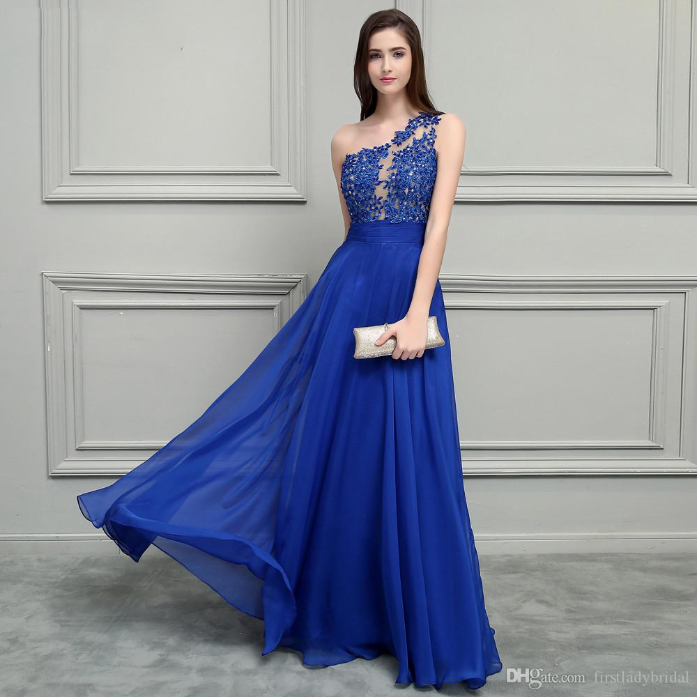 f03acfe6988 2019 One Shoulder Royal Blue Prom Dresses Chiffon Appliques Lace See  Through Illusion A Line Floor Length Sexy Special Occasion Evening Gown  Plus Size ...