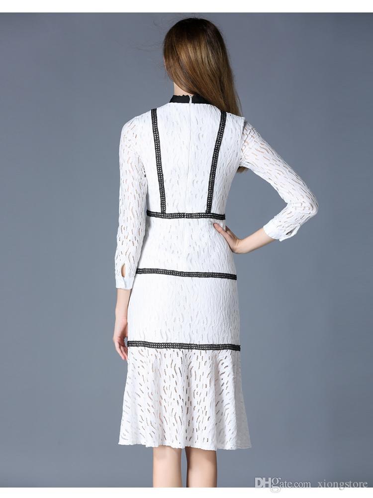 Primavera Runway designer 2018 Mulheres Vestidos na altura do joelho trompete sereia vestido de gola preta arco tira top magro branco rendas vestido de Manga Longa