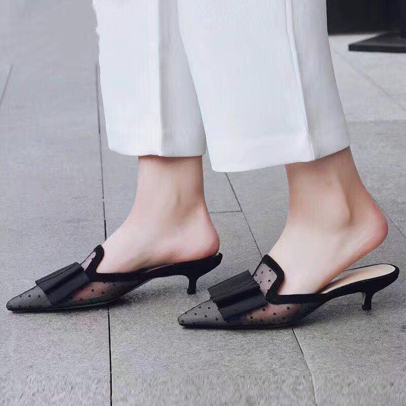 310743fd86 Designer Brand Black Dotted Bowtie Mesh Slippers High Heel Pointed Toe  Dress Mules Summer Shoes Women