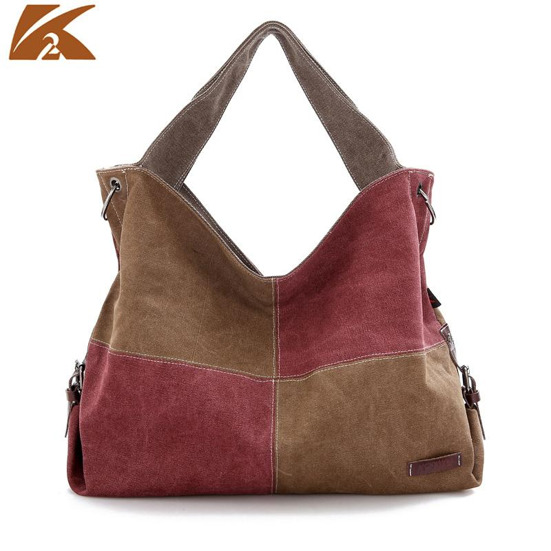 2018 Special Offer Direct Selling Kvky Canvas Patchwork Female Top-handle Bags Larger Women Hair Ball Shoulder Bag Messenger