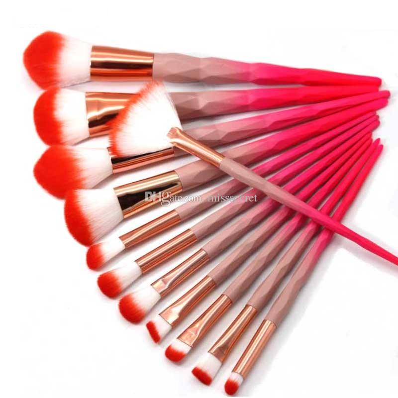 Pink Diamond Makeup Brushes Set Power Eye Shadow Brow Lip Concealer Fan Beauty Cosmetic Eyes Face Diamond Shape Make Up Brush Kit