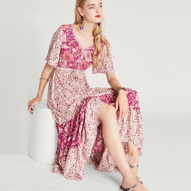 58154a878d4 Acheter Sweet Boho Dress Rose Mode Floral Print Manches Courtes Robes D été  Vintage Chic Hippie Longues Femmes Loose Dresse Vestidos De  69.89 Du  Guocloth ...