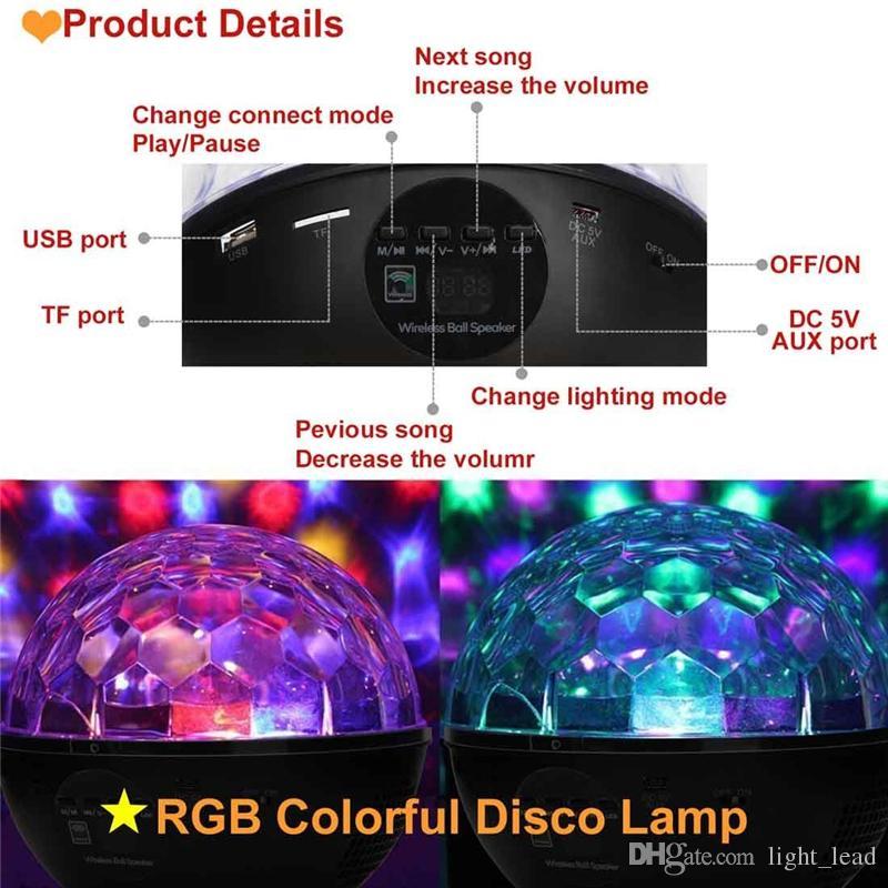 RGB LED de Cristal Bola Mágica Efeito de Palco de Luz 9 W DJ KTV Clube de Iluminação de Festa de Discoteca Bluetooth Speaker Com USB / TF / Rádio FM / remoto