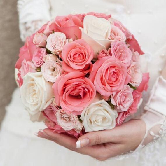 Wedding Bouquet Foam Plastic Holder Handle Bridal Floral Flower White Pink Lace DIY Event Party Decoration