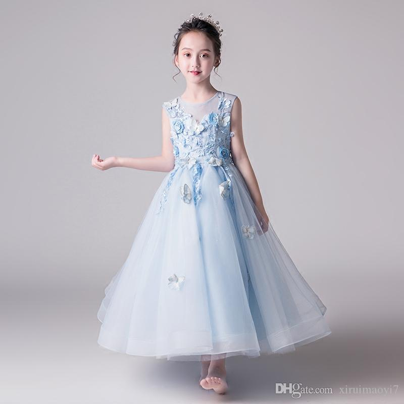 d62dbc8296a8 Elegant Blue Tulle Flower Girl Dress 2018 Summer Party Kids Pageant ...