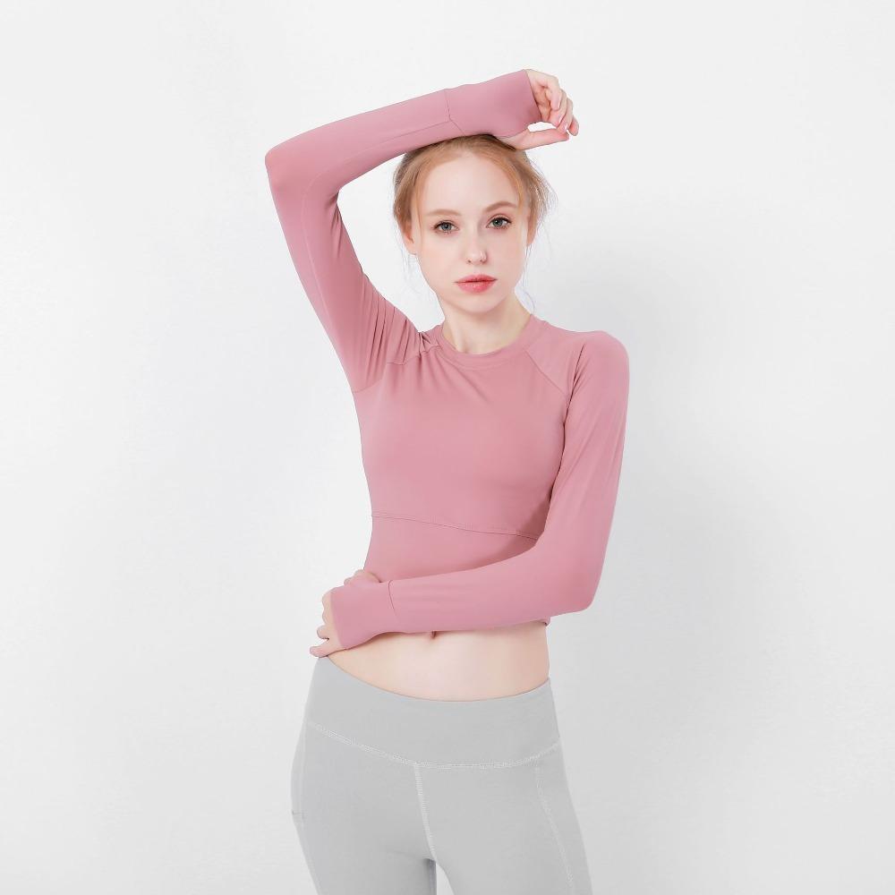 2018 Women Fitness Yoga Crop Tops Yoga Shirts Long Sleeve Workout