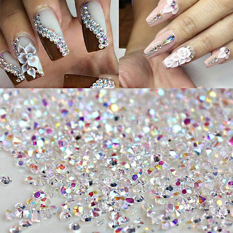 1 Bag AB Color Clear Glass Crystal Rhinestone 1.2mm Nail Glitter ...