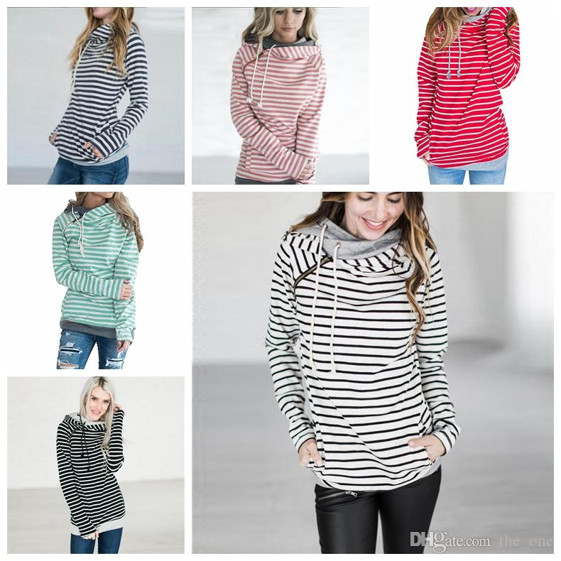 304e399de44 2019 Striped Double Hood Hooded Hoodies Sweatshirts Women Drawstring Pullovers  Hoodie Patchwork Sweatshirt Spring Autumn Coat Maternity Tops From The one