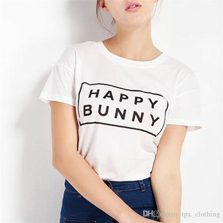 Happy runny t shirt Cool words short sleeve gown Street leisure letter tees  Unisex clothing Pure color cotton Tshirt