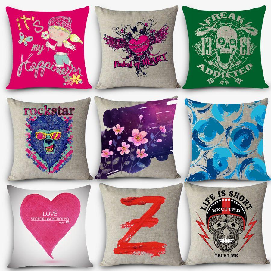 Cheap Car Seat Linen Cushion Nordic Vintage Outdoor Chair Cushions Home  Decor Hand Paint Pillow Anti Decubitus MYJ H4 Design Pillow Throw Pillows  Covers ...