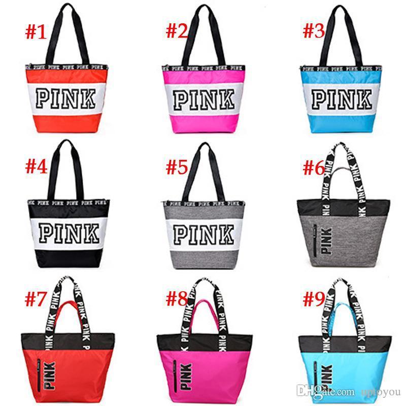951c2f008471 Fashion PINK Letter Shopping Handbag Large Capacity Shoulder Bag ...
