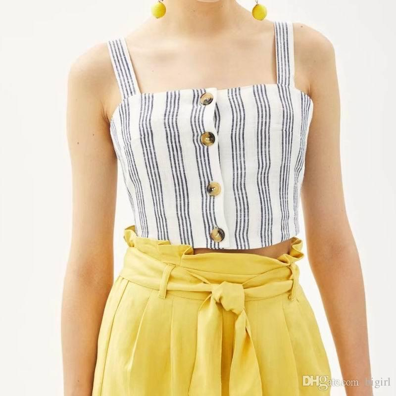 426fa4b57a 2019 Women Sexy Short Striped Tank Tops New Hot Linen Camisole With Button  Good Quality Summer Fashion Small Tanks Camisoles From Bigirl
