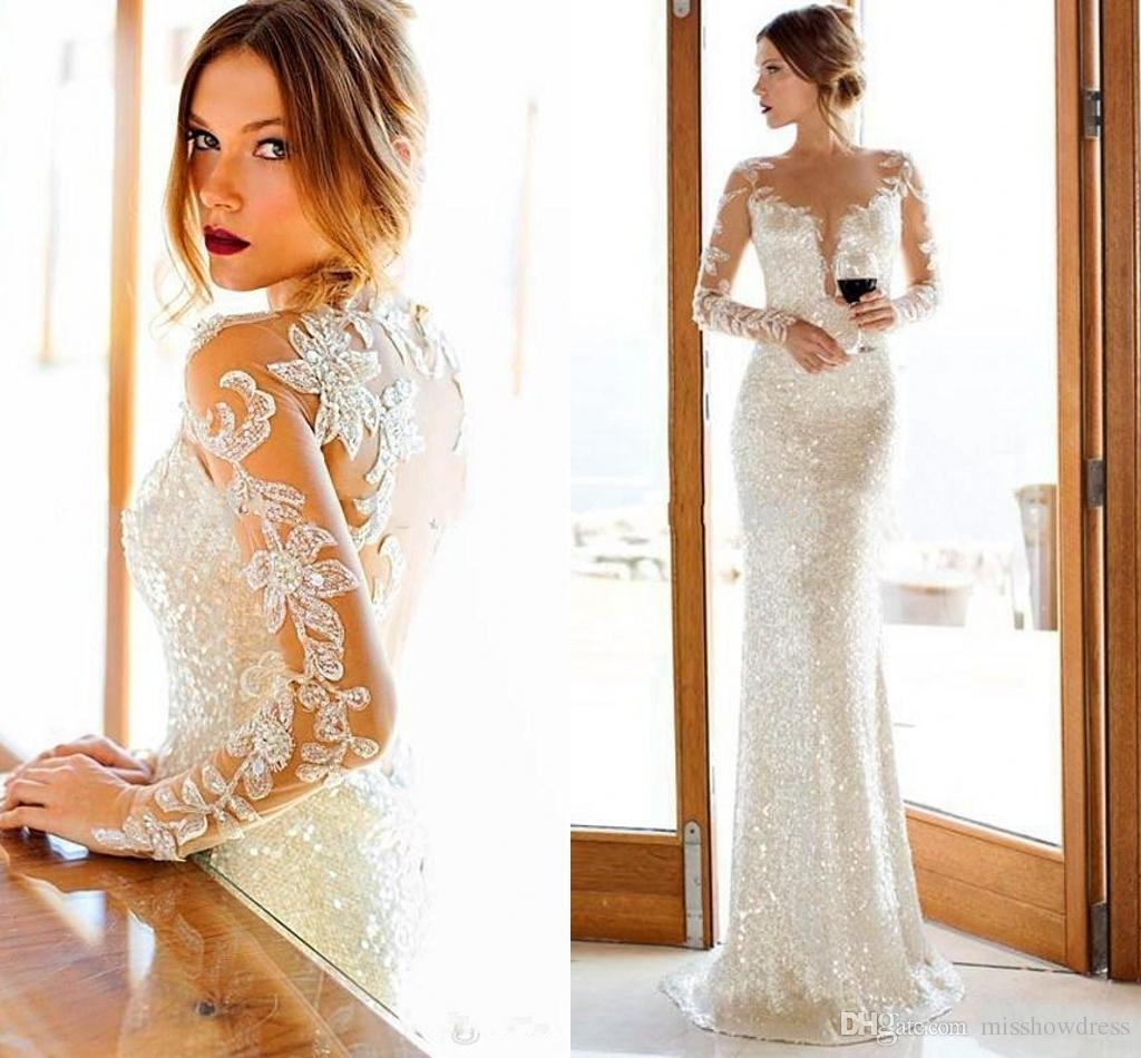 Evening Dresses 2018 White Elegant Sequined Sheer Jewel Neck Mermaid ...