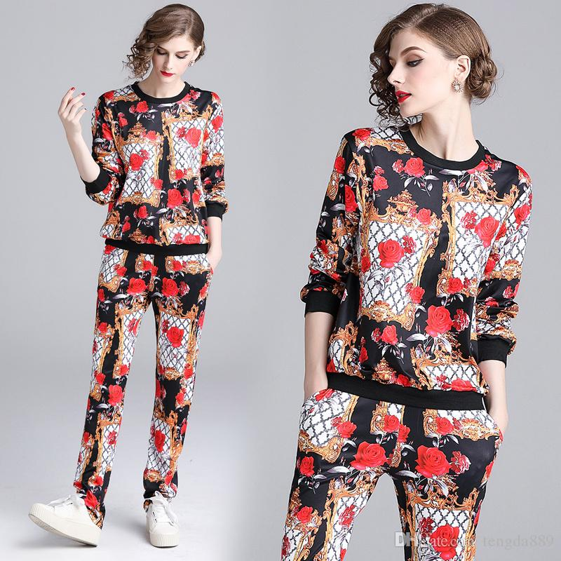 Wholesale 2019 Spring Fall Fashion Print Two Pieces Set Womens Sets