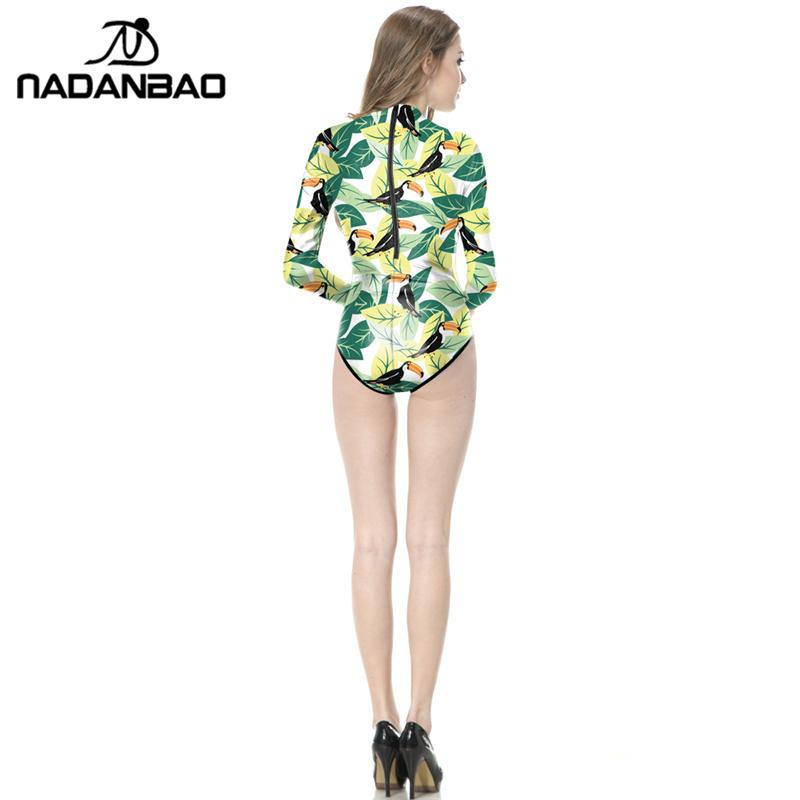 2017 Loog Sleeve Zippered Surfing Bathing Suit Colorful Leaves Printed Women Swimwear Bodysuit One Piece Swimsuit Y02034