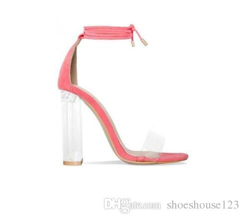eab6686bd6c04 Pink Nude Faux Suede High Heels Women Sandals Transparent PVC Ankle Strap  Women Pumps Lace Up Clear Block Heels Shoes Shoes For Women Nude Wedges  From ...