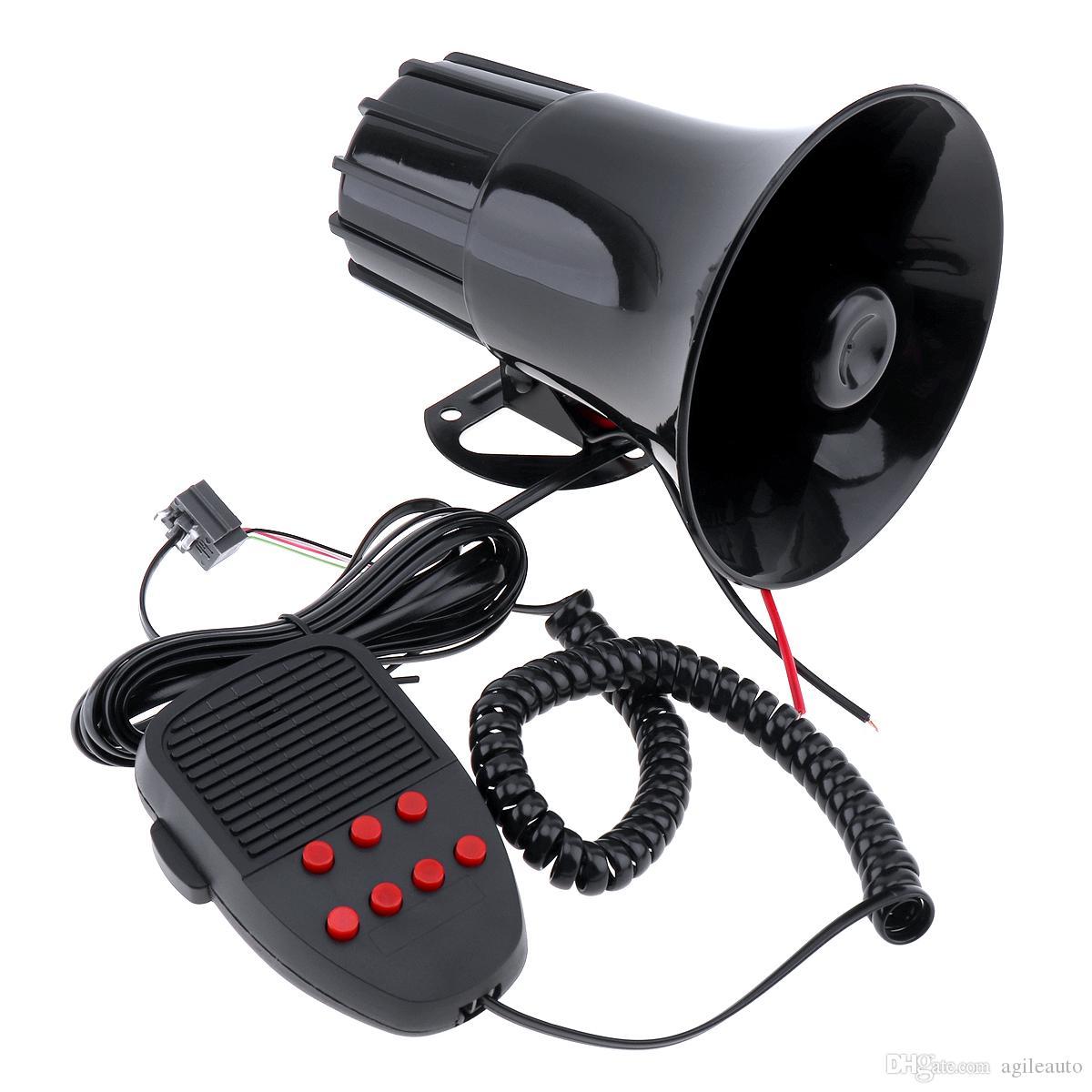 Сигнализация Универсальный Автомобиль Горн динамиком 100W 12V 7 Звуки тележки автомобиля Динамик громкий сирена Хорн 105dB с MIC AUP_42P