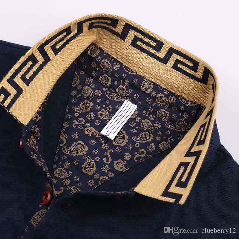 Ventes chaudes chemise de luxe conception masculine été col rabattu manches courtes en coton chemise hommes top