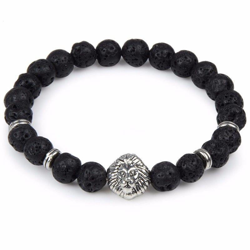 Natural Stone Beads Bracelets Volcano Stone Lion Head Bracelet Black Lava Stone Jewelry Stretch Energy Yoga Bracelet D937L