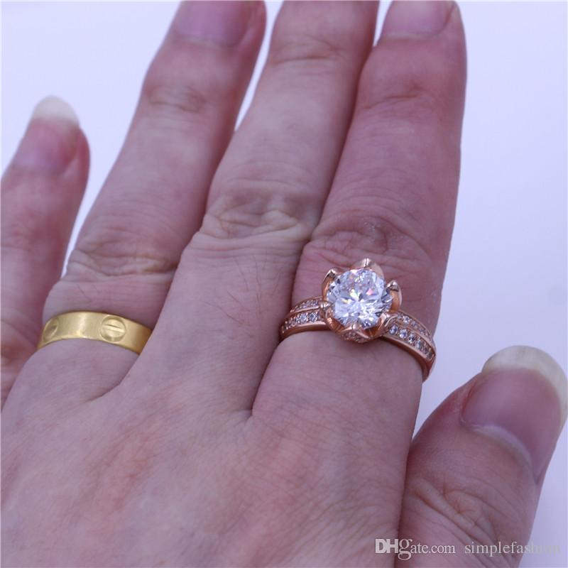 Vecalon Flower Jewelry Female rings 3ct Diamonique Cz Rose Gold Filled Anniversary wedding ring for women best gift