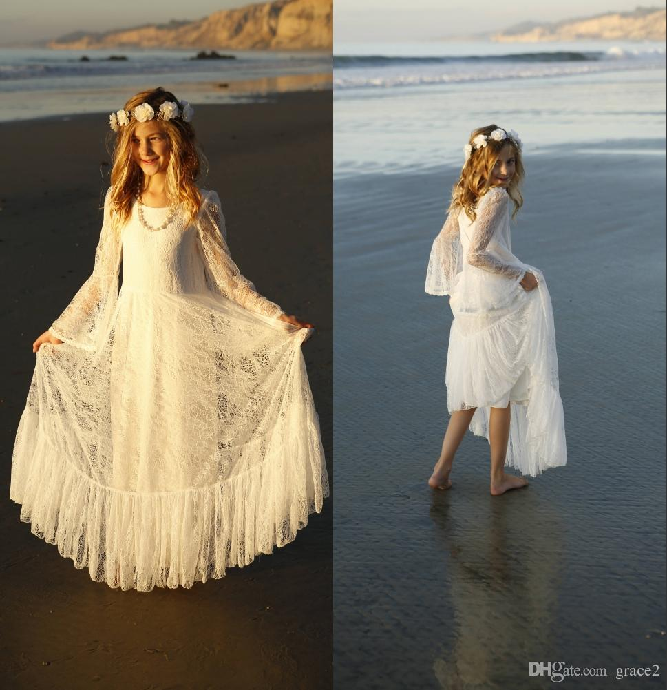 821504adfa White First Communion Dress For Girls 2018 Boho Chic Lace Flower Girls  Dress Bohemian Beach Style Long Sleeves Floor Length Custom Made Girl Shoes  Girls ...