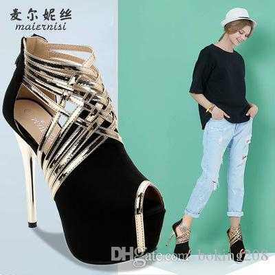 ed7cf2f25a3c 2018 Summer Waterproof Platform Super High Heel Shoes Peep Toes Thin Heel  14cm Female Sexy Banquet Women Shoes Wedding Shoes Mens Boat Shoes Loafers  For ...