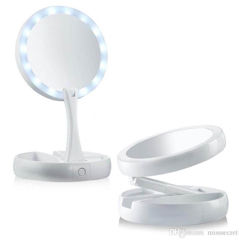 Hot Sale New Style LED Makeup Mirror Foldable Portable 360 Degree Rotation Cosmetic Folding Mirror Round Shape Cosmetic Mirror