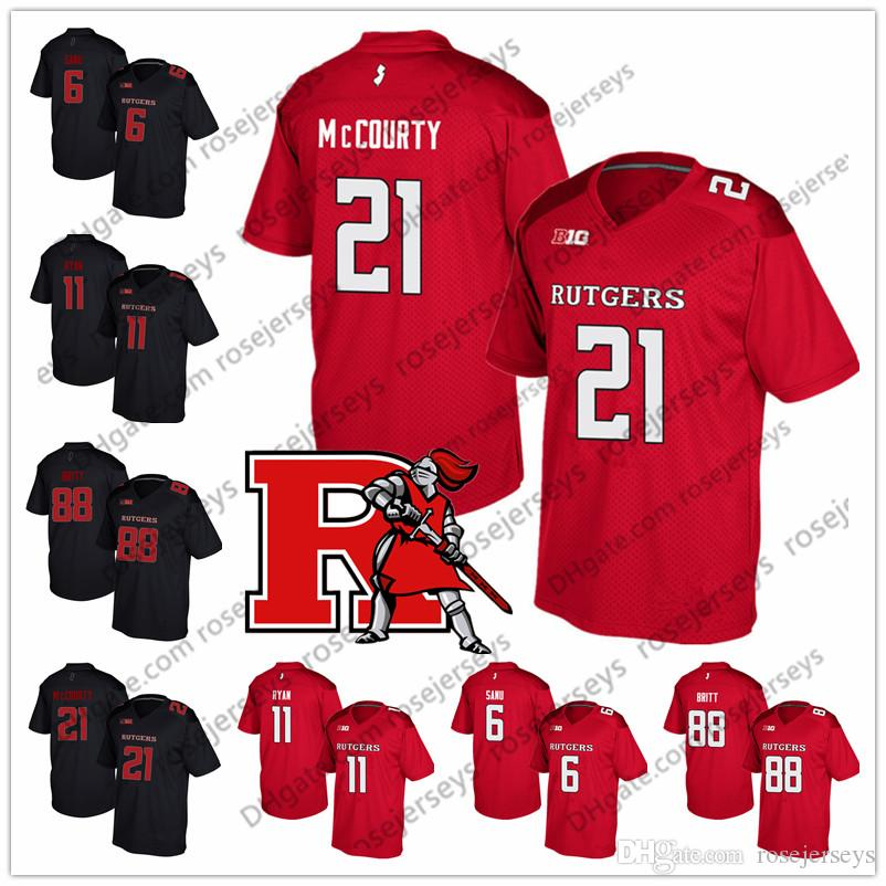 half off fb5c7 c68fb NCAA Rutgers Scarlet Knights #21 Jason McCourty 6 Mohamed Sanu 11 Logan  Ryan 88 Kenny Britt Retired College Football Red Black White Jersey