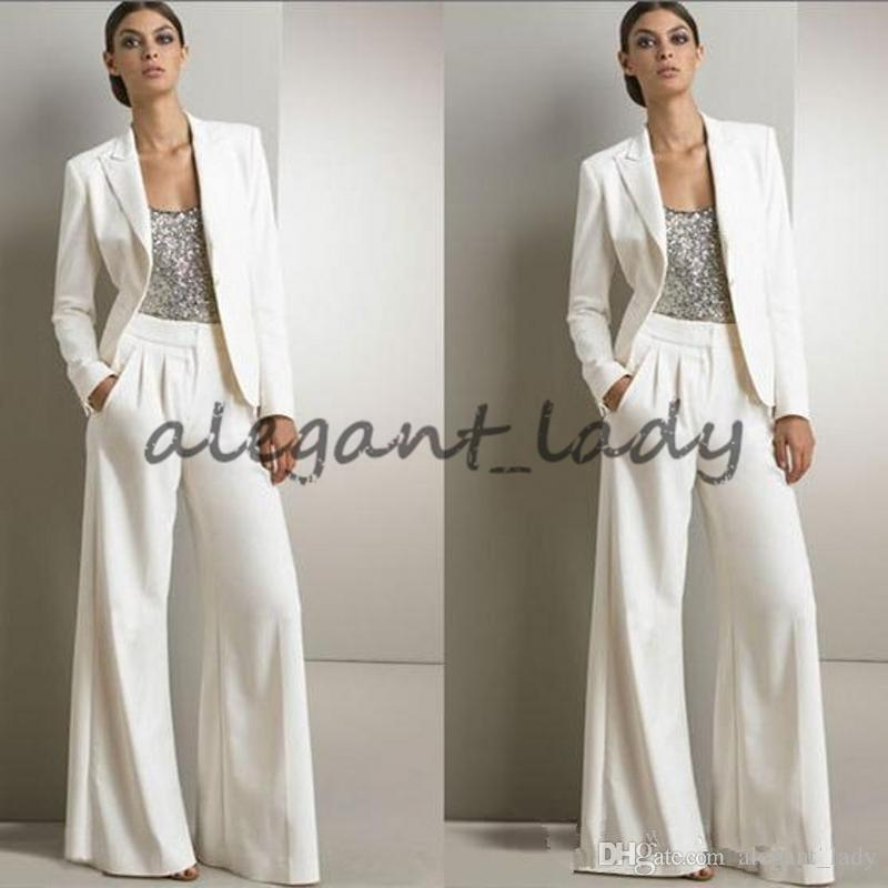 Modern White Three Pieces Women Jumpsuit Prom Formal Wear with Long Sleeve Jacket 2018 Custom Make Mother Occasion Evening Pant Suit Set