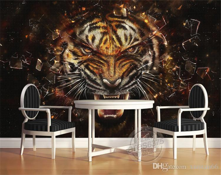 Retro pano de parede ambiental papel de parede à prova d 'água personalizado vendas diretas tigre papel de parede sofá parede sala de estar restaurante TV parede especial
