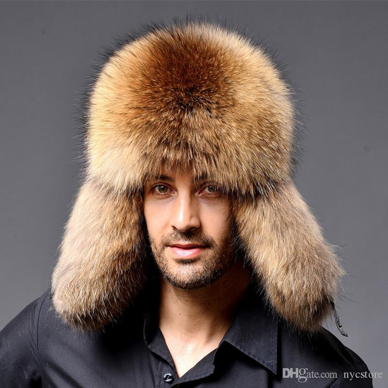 Men s Russian Raccoon Lamb Leather Cap Ushanka Trapper Hats For ... cd2dd8fe2e1f