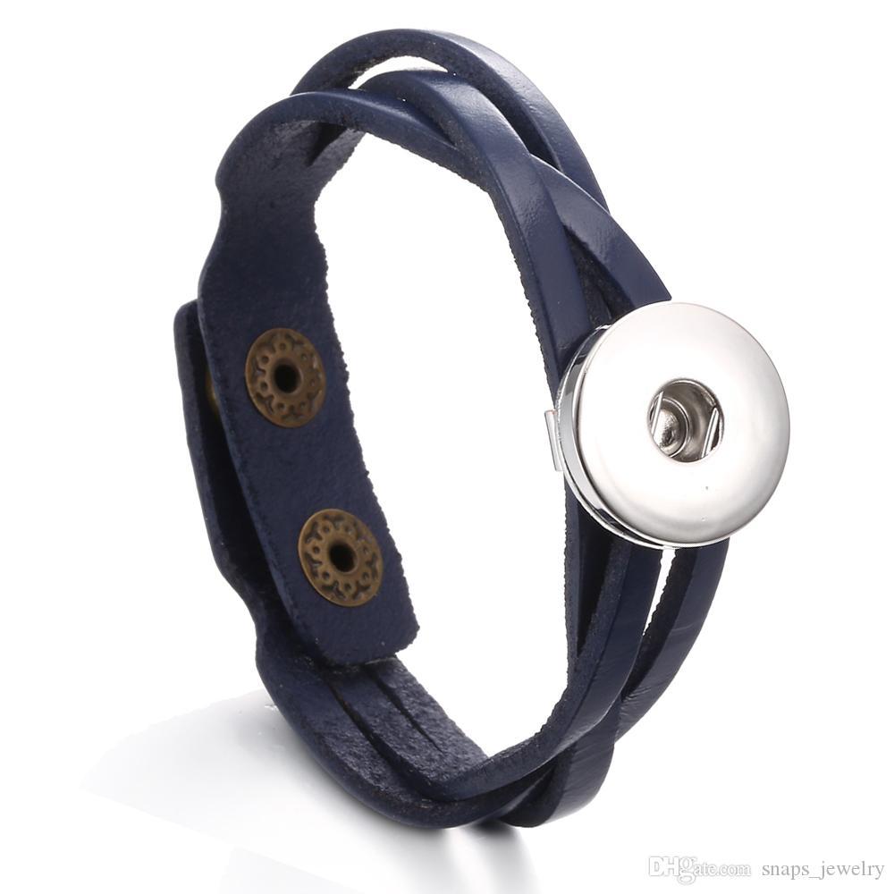 Noosa ginger scatta gioielli smiple cuoio dell'unità di elaborazione 18mm con bottone a pressione uomo gioielli con bottone a pressione