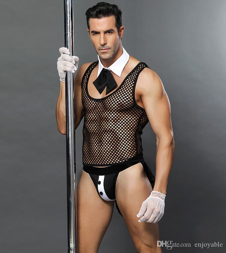 Fishnet Erotic Men Sexy Waiter Outfit Cosplay Costume Transparent Male Maid  Lingerie Cosplay Costumes For Bar Performance Women Halloween Costumes Sexy  ...