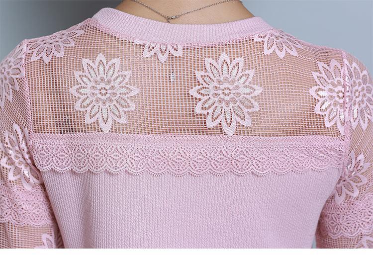 Blusas Mujer De Moda Camicetta Donna Sexy Elegante Camicia di Pizzo Scava Fuori Floreale Blusa Elegante O-Collo Donna Supera Woek Wemen 2018