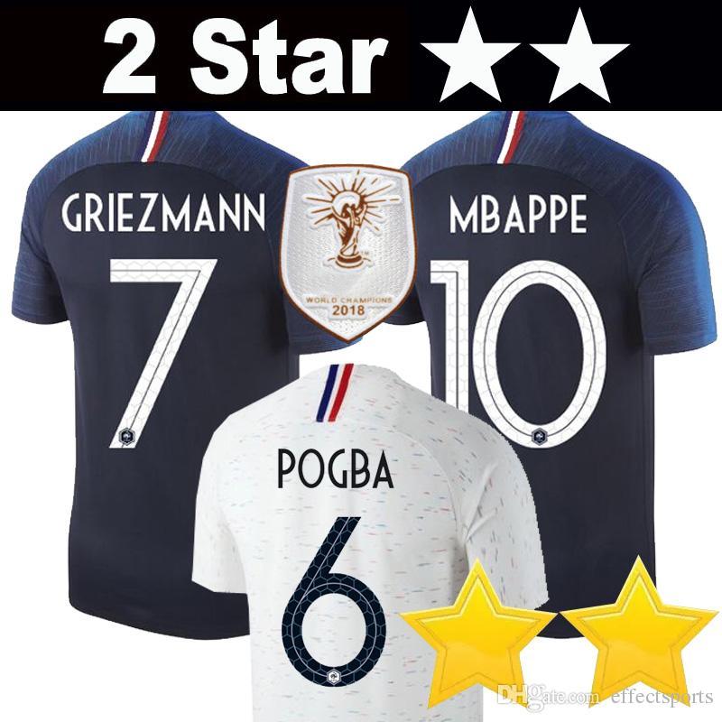 Compre França MBappe Soccer Jersey Camisa De Futebol 2 Estrelas E Estrelas  2018 Copa Do Mundo Soccer Jerseys Nacional Team Griezmann Pogba K ANTE  DEMBELE ... 6d3410c8464ce