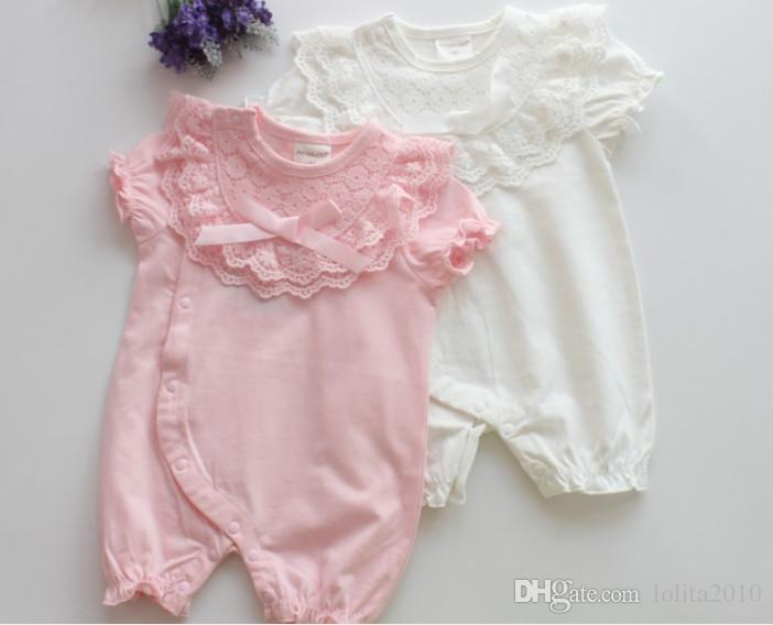 Newborn Baby Girl floral lace bow Rompers Clothes 2018 Girls short sleeve cotton Infant Jumpsuit summer bodysuits for 0-12M baby