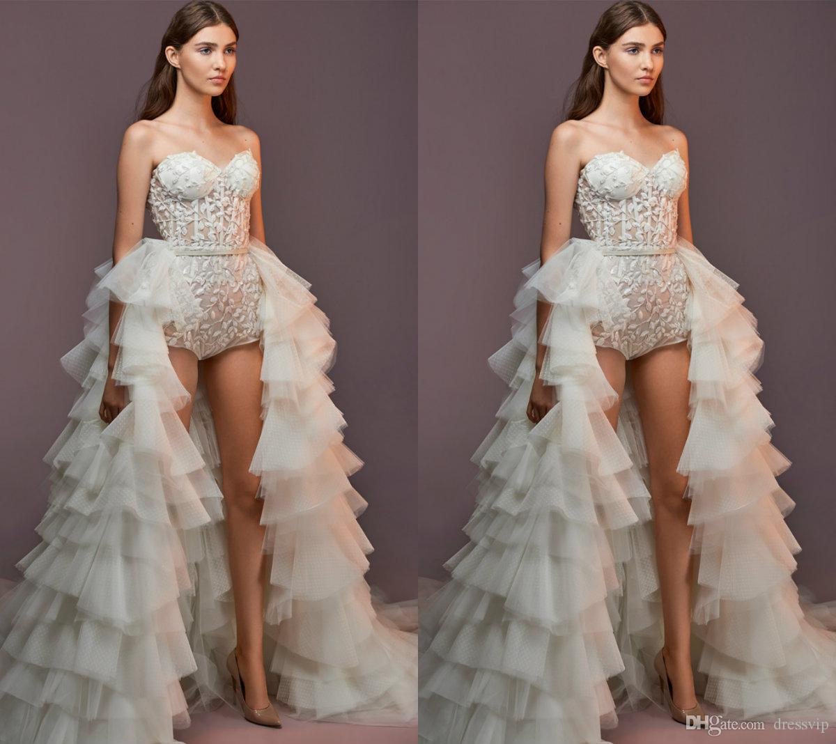 723e414a041a Discount 2018 Saiid Kobeisy Wedding Dresses Short Pants With Detachable  Train Sexy Sweetheart Beach Bridal Gowns Illusion Boho Lace Wedding Dress  Bridal .