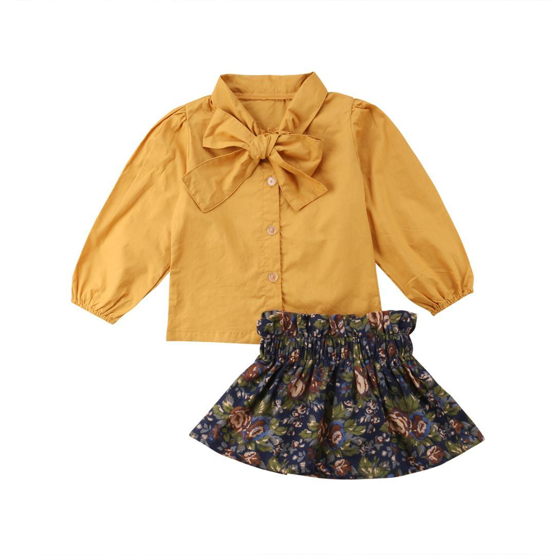 edfbc7d4 Pretty Toddler Kids Baby Girls Vintage Outfits Bow Long Sleeve Solid Tops+Floral  Pattern Skirts Fashion Set Clothes