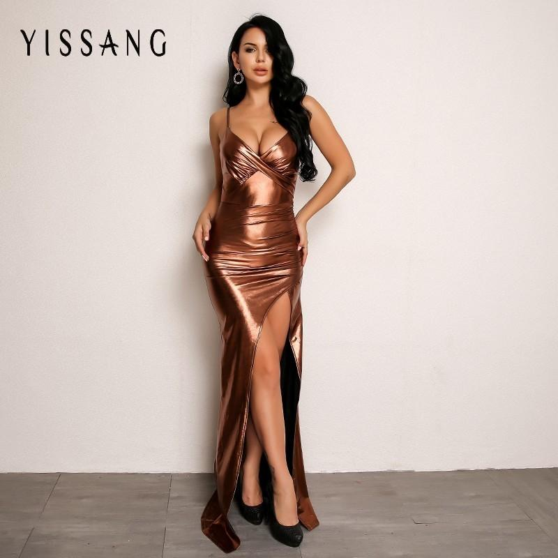 91a5c714 2019 Yissang Gold Color V Neck Sexy Dress Women Spaghetti Strap Sleeveless Backless  Maxi Dresses Summer Elegant Party Bodycon Dress From Wuyasi, ...
