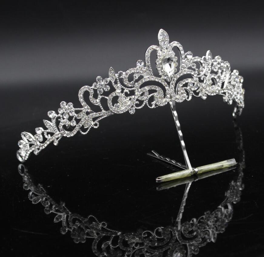 Cristal de la manera de la boda nupcial conjuntos de joyas Tiara Crown pendiente collar de la novia de las mujeres desfile de la joyería del baile de graduación adornos para el cabello