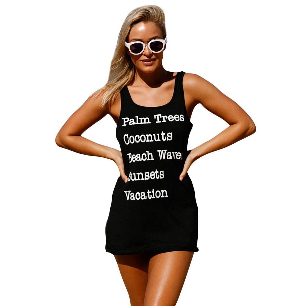 d42aa48665 Swimwear Women Saida De Praia Feminino 2018 Dress Black Graphic Tank Swim  Cover Up Dress Tunic For Beach UK 2019 From Jf888jf