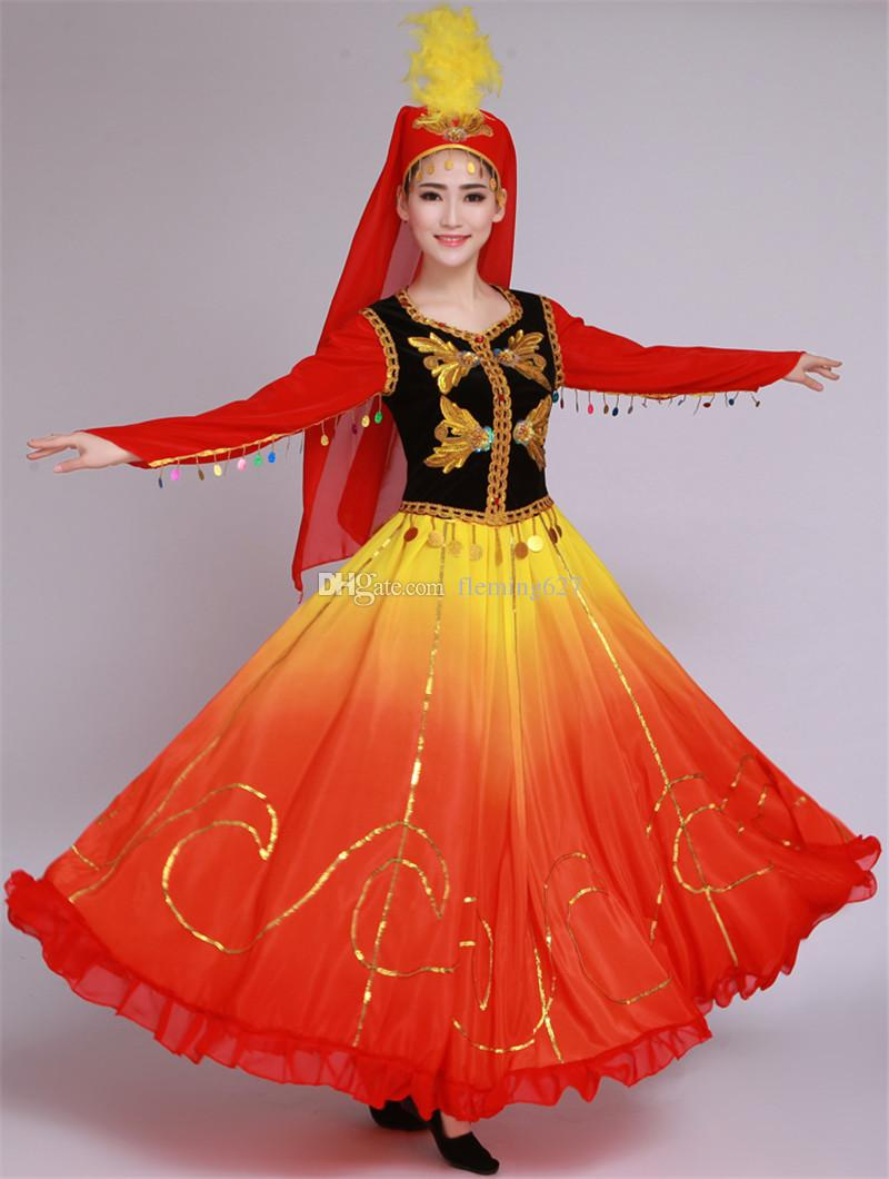 0dd589ff64 New Style Xinjiang National Female Clothes Oriental Dance Costumes Stage  Dress Colorful Performance Wear Chinese Dance Costumes Colorful Stage Dress  ...