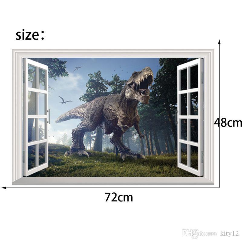 3D Animals Dinosaur Window Wall Stickers Environmental Home Decor Sticker for Boy Living Room