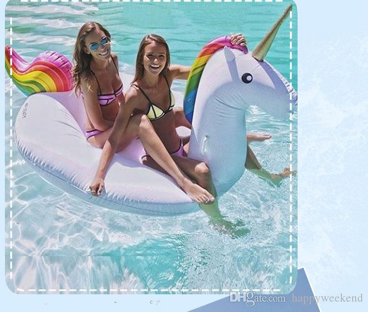 Inflatable Unicorn Float 270*120*140CM ECO-Friendly PVC Summer Outdoor Ride-On Pool Toys Swimming Water Raft Fun Adult Kid Swim Party Toys